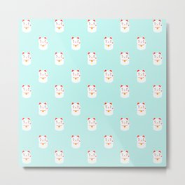 Lucky happy Japanese cat pattern Metal Print