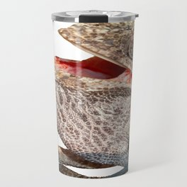A Chameleon With Open Mouth Isolated Travel Mug