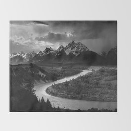 Ansel Adams - The Tetons and Snake River Throw Blanket