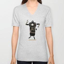 Robot with Bird Unisex V-Neck