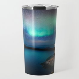 Aurora Borealis Over Coastal Waters Travel Mug