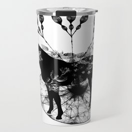 Black and white horse and the flowers Travel Mug