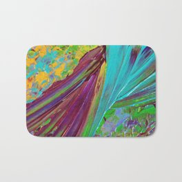 COLOR CHAOS Wild Vibrant Colorful Abstract Acrylic Painting Lime Green Plum Purple Gift Art Decor Bath Mat