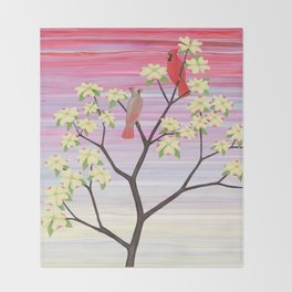 cardinals and dogwood blossoms Throw Blanket
