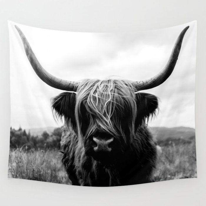 Scottish Highland Cattle Black and White Animal Wall Tapestry