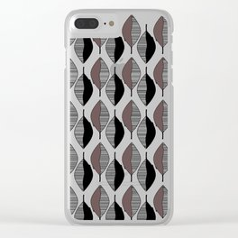 Mauve & black leaves Clear iPhone Case