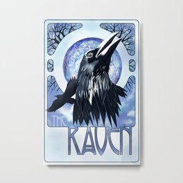 The Raven and The Moon Metal Print