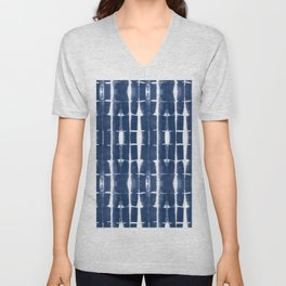 Shibori Stripes 3 Indigo Blue Unisex V-Neck