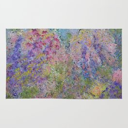 Spring Hydrangeas, Pastel Abstract, Modern Painting Rug