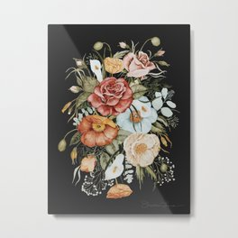 Roses and Poppies Bouquet on Charcoal Black Metal Print