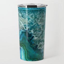 Aqua turquoise agate mineral gem stone - Beautiful Backdrop Travel Mug