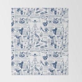 Da Vinci's Anatomy Sketchbook // Dark Blue Throw Blanket