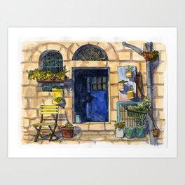 Blue Door - Jerusalem Street Art Print
