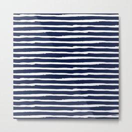 Navy Blue Stripes on White II Metal Print