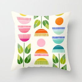 Sugar Blooms - Abstract Retro Inspired Design Throw Pillow
