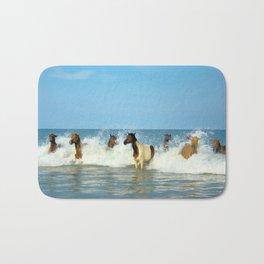 Wild Horses Swimming in Ocean Bath Mat
