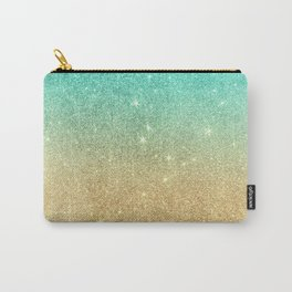 Aqua teal abstract gold ombre glitter Carry-All Pouch