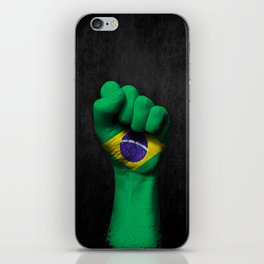 Brazilian Flag on a Raised Clenched Fist iPhone Skin