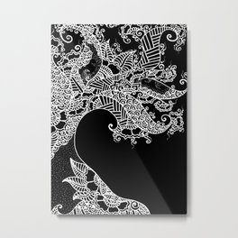 Zen Tree Rebirth Black Right Half Metal Print