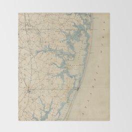Vintage Map of Ocean City Maryland (1900) Throw Blanket