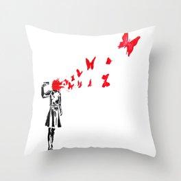 gun and butterflies banksy Throw Pillow