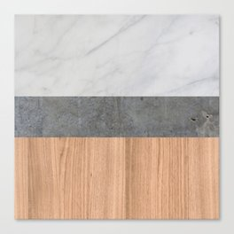 Carrara Marble, Concrete, and Teak Wood Abstract Canvas Print