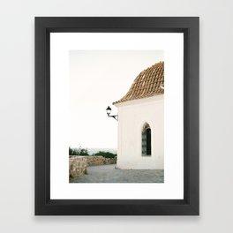 "Travel photography ""Ibiza white"" | Modern wall art Ibiza Spain coast white tones sunset Framed Art Print"