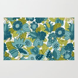 Whimsical Blue and Green Floral Rug