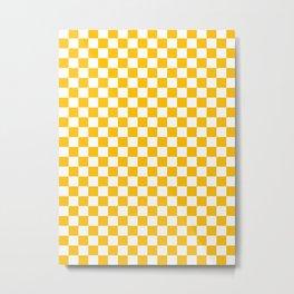 White and Amber Orange Checkerboard Metal Print