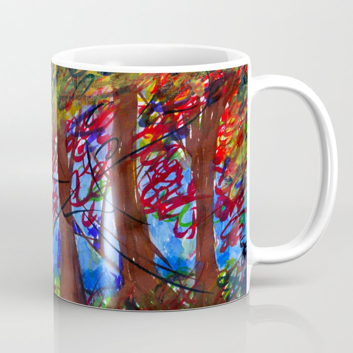 An Eerie Night form my memory || Abstract landscape painting Canvas Print Coffee Mug