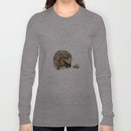 """""""Close Encounter"""" painting of a Hedgehog and Snail by Teresa Thompson Long Sleeve T-shirt"""