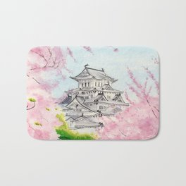 Himeji Castle , Art Watercolor Painting print by Suisai Genki , cherry blossom , Japanese Castle Bath Mat