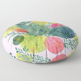 Succulent Circles on Pink Floor Pillow