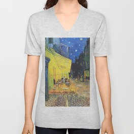 Café Terrace at Night by Vincent van Gogh Unisex V-Neck