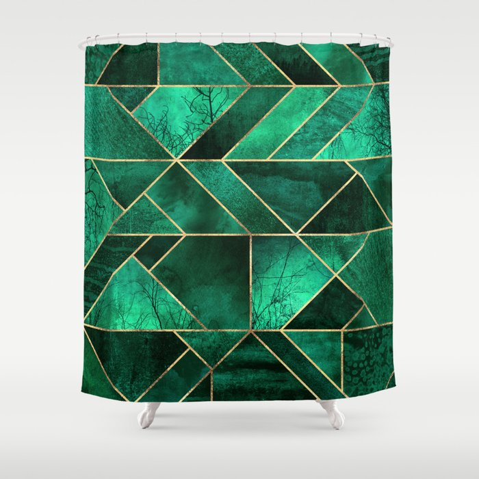 Abstract Nature - Emerald Green Shower Curtain by ...