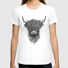 Highland Cattle LARGE White Womens Fitted Tee