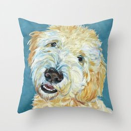 Stanley the Goldendoodle Dog Portrait Throw Pillow