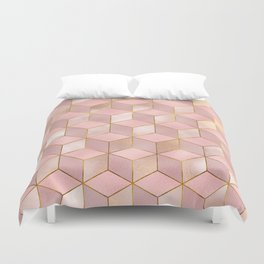 PINK CHAMPAGNE GRADIENT CUBE PATTERN (Gold Lined) Duvet Cover