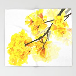 yellow trumpet trees watercolor yellow roble flowers yellow Tabebuia Throw Blanket