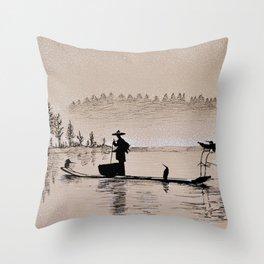 Sunrise Bird Fishing Throw Pillow