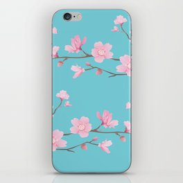 Cherry Blossom - Robin Egg Blue iPhone Skin