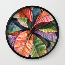 Colorful Tropical Leaves 1 Wall Clock