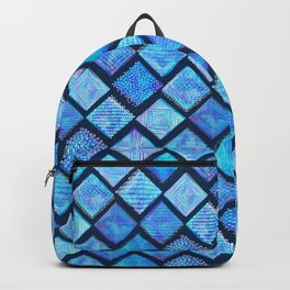 Blue Watercolor Tiles with White Texture Backpack