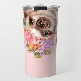 Baby Sloth with Flowers Crown in Pink Travel Mug