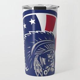 Native American Indian Chief USA Flag Icon Travel Mug