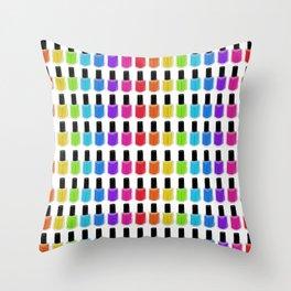 Nail Polish Rainbow Throw Pillow