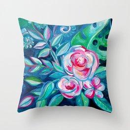 Tropical Camellia Extravaganza - oil on canvas Throw Pillow