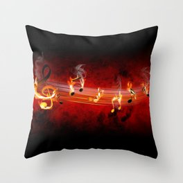 Hot Music Notes Throw Pillow