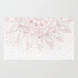 Elegant rose gold mandala confetti design Rug