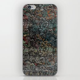 Burned Color  Paisley Pattern on  Wood iPhone Skin